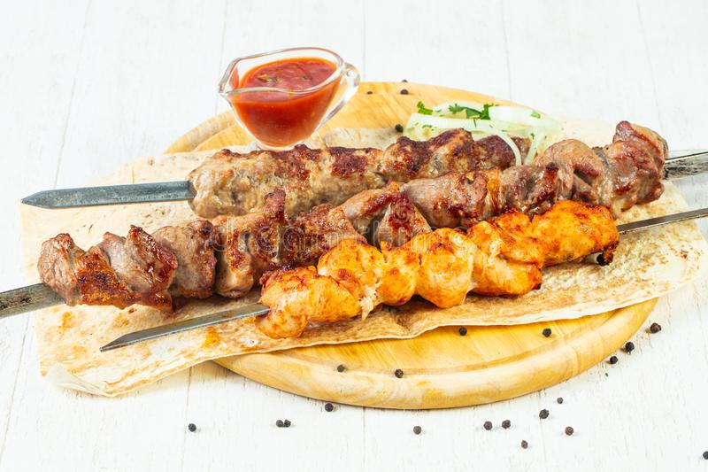Grilled meat kebab mix royalty free stock image