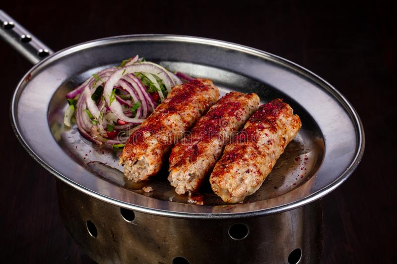 Grilled meat kebab stock photo