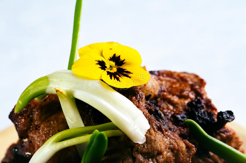 Grilled meat with onion stock photos