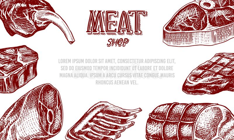 Grilled meat poster, Pork or beef steak. Barbecue BBQ banner. Food in vintage style. Background for restaurant menu royalty free illustration
