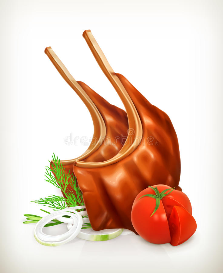 Grilled meat ribs with vegetables. Vector icon, on white background vector illustration