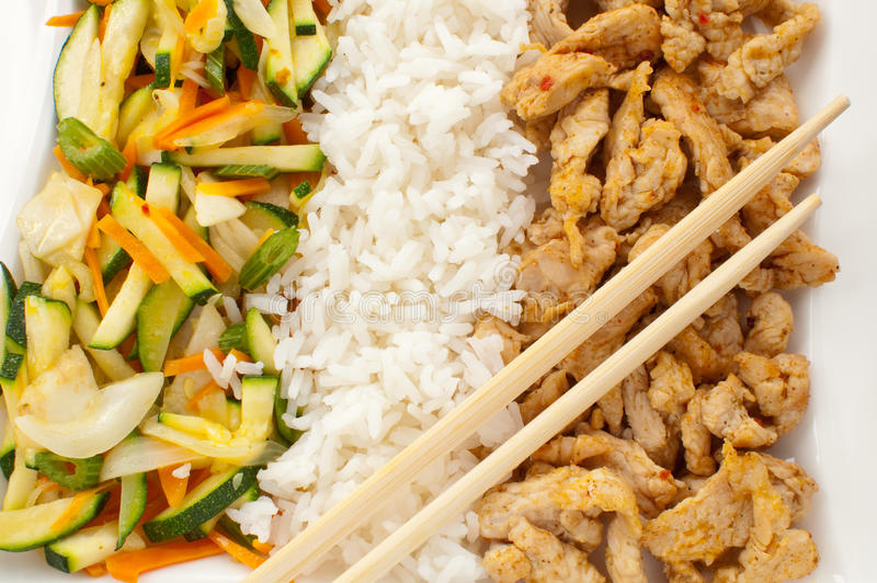 Grilled meat and rice stock photo