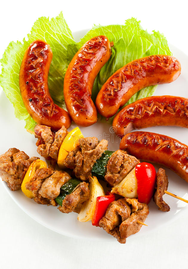 Download Grilled meat and sausages stock image. Image of grill - 16190311