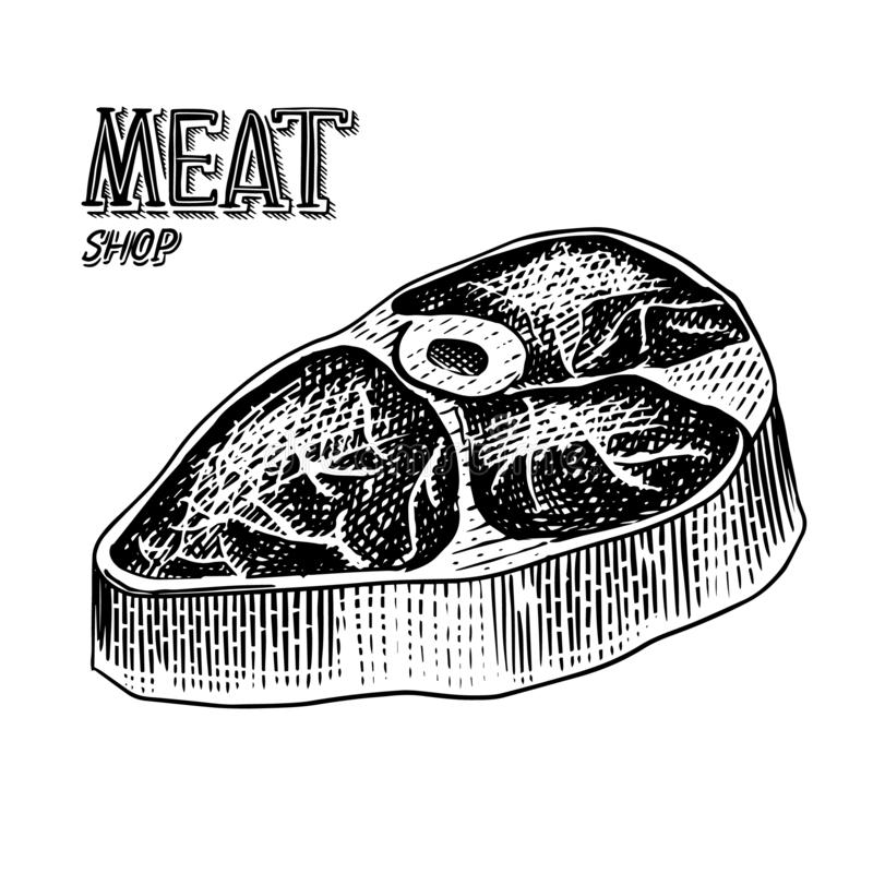 Grilled meat steak, BBQ Pork or beef Barbecue. Food in vintage style. Template for restaurant menu, emblems or badges. Hand drawn sketch royalty free illustration