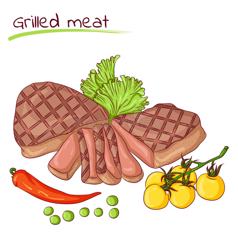 Grilled meat and vegetables. Vector illustration of grilled meat isolated on white background. Food Icon. Design for cookbook, restaurant business. Series of vector illustration