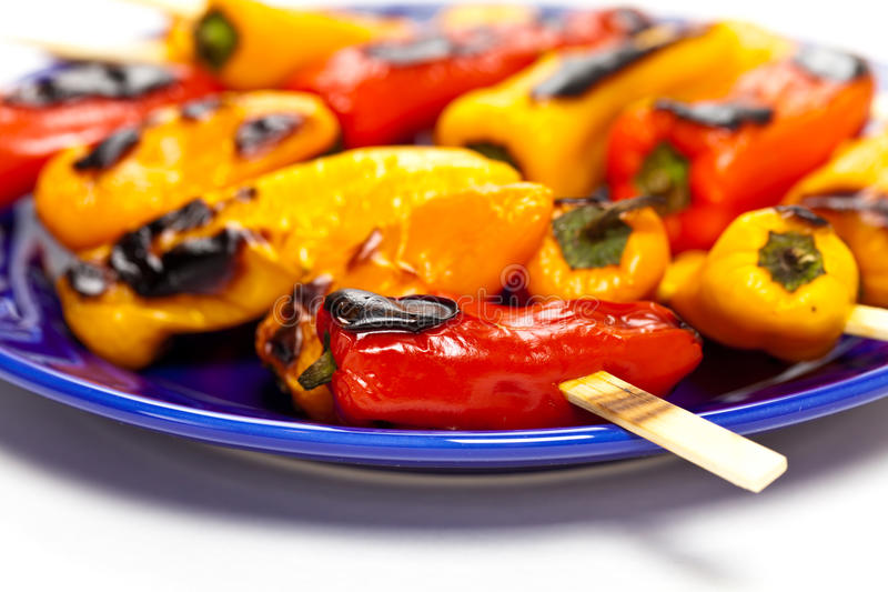 Download Grilled Mini Sweet Peppers stock image. Image of cooked - 39509295