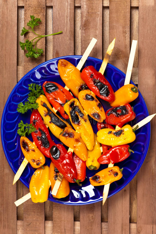 Download Grilled Mini Sweet Peppers stock photo. Image of pepper - 39509302