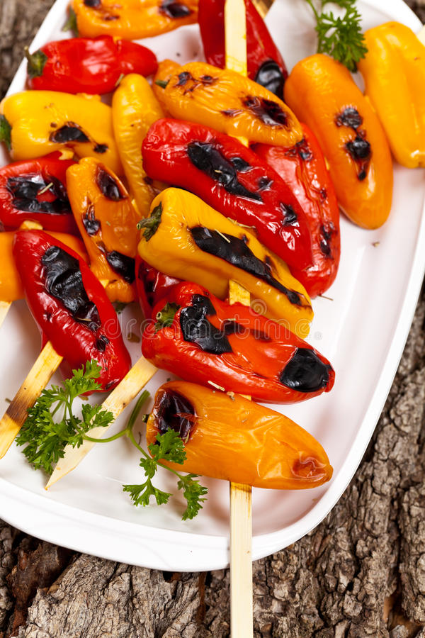 Download Grilled Mini Sweet Peppers stock image. Image of grill - 39509361