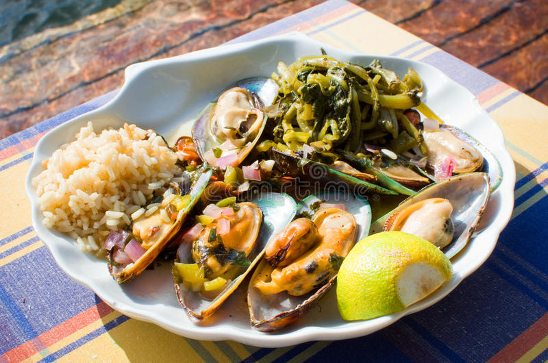 Grilled mussels stock photos