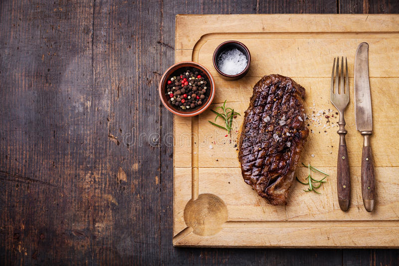 Grilled New York Striploin Steak royalty free stock image