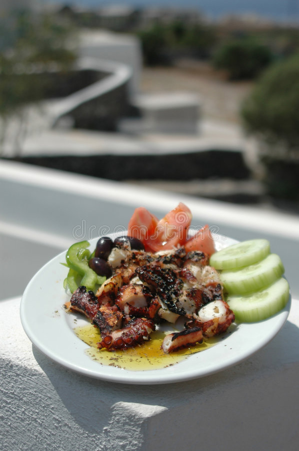 Grilled octopus. Freshly grilled octopus with scenic background greek islands royalty free stock images