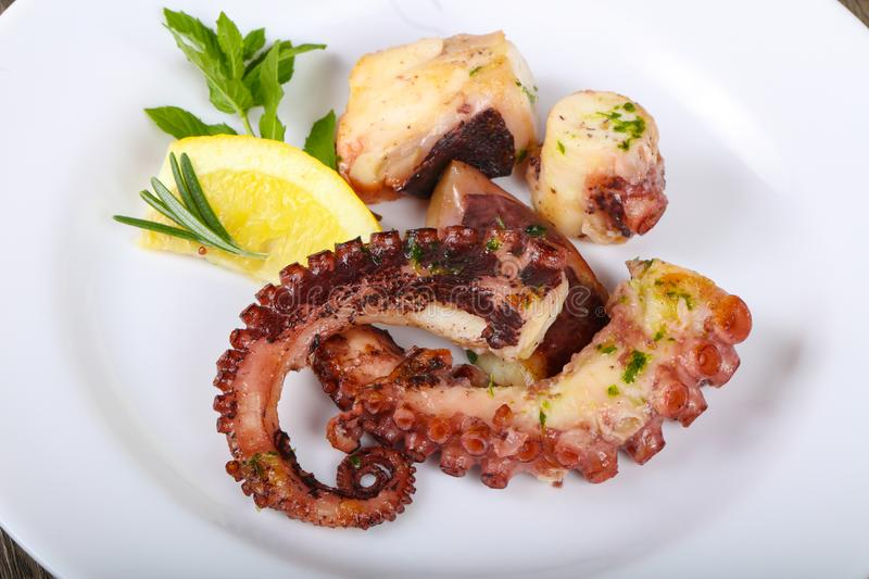 Grilled octopus stock photo