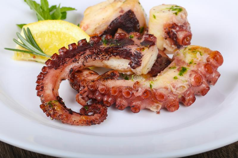 Grilled octopus royalty free stock photography