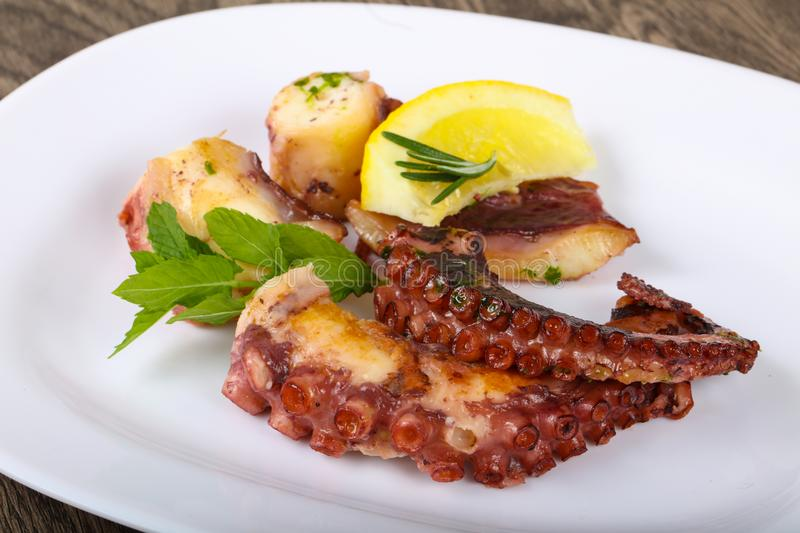 Grilled octopus stock photography