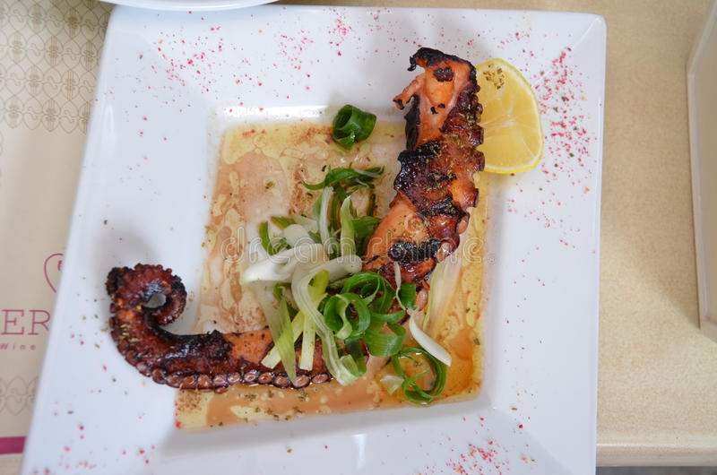 Grilled octopus on a plate royalty free stock image