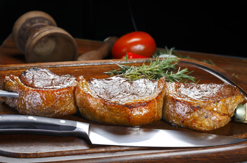 Grilled Picanha barbecue. Brazilian barbecue ready to consume royalty free stock photos