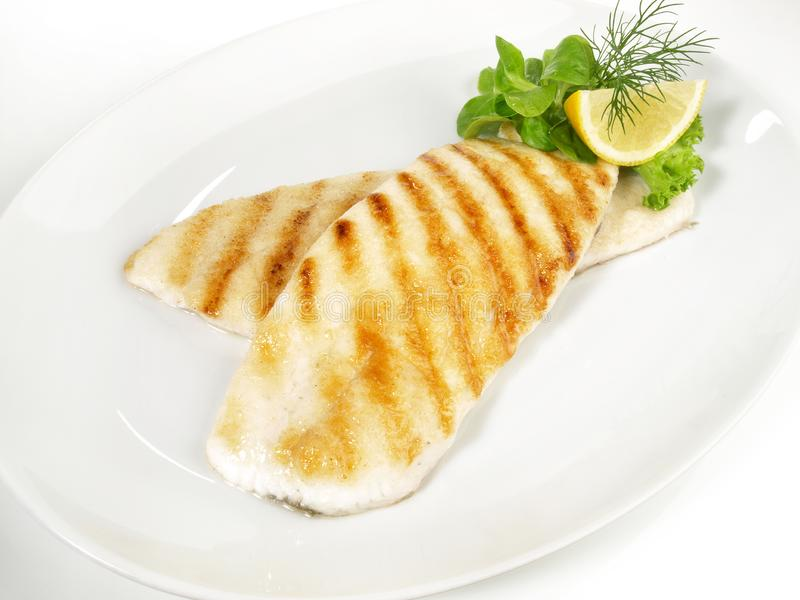 Grilled Plaice Fish Fillet royalty free stock photo