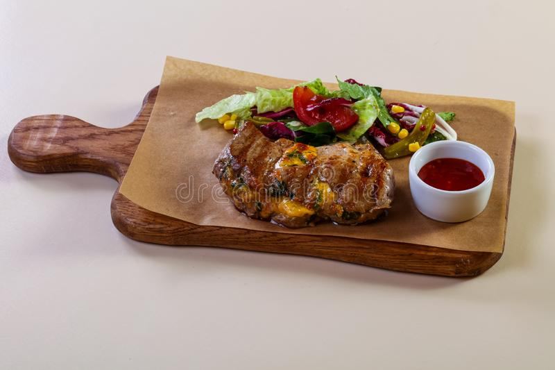 Grilled pork with cheese royalty free stock photo