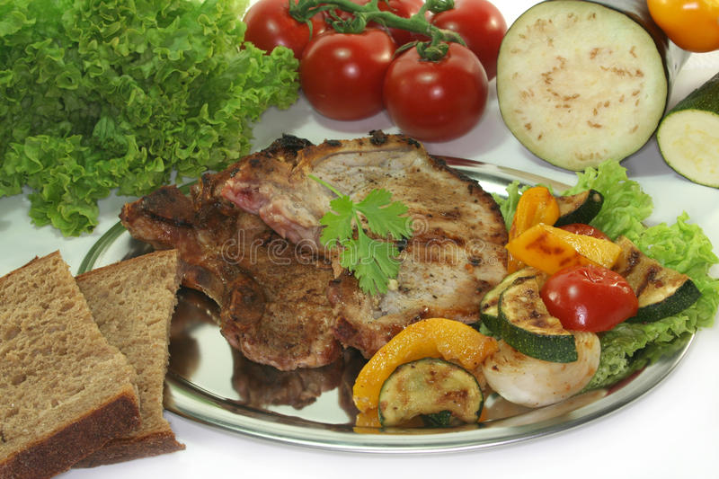 Grilled pork chop royalty free stock photo