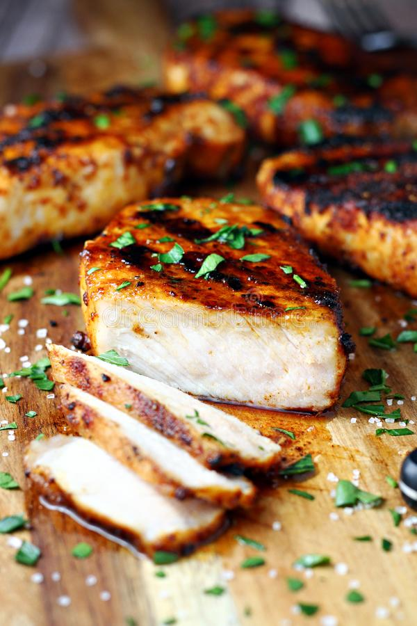 Grilled pork chops stock photos
