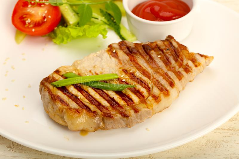 Grilled pork cutlet royalty free stock photo