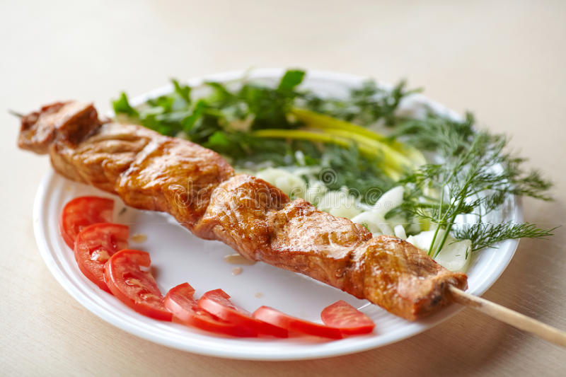 Grilled pork kebab with tomatoes, onion and greens on plate royalty free stock photography