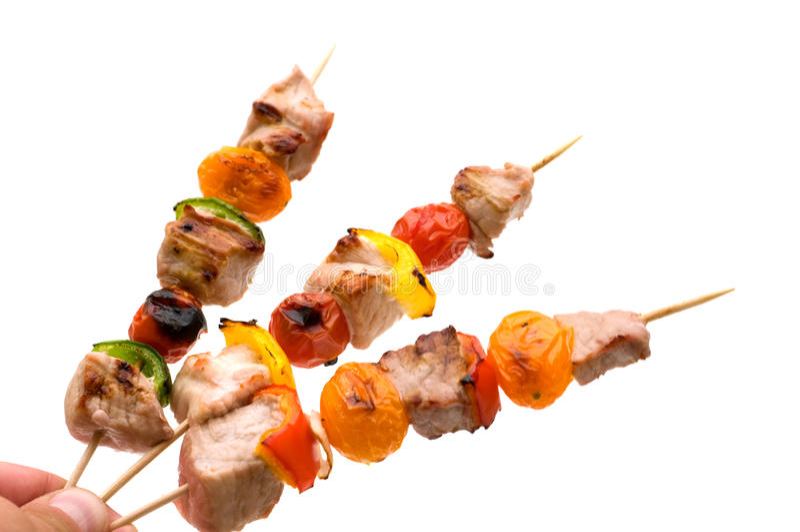 Grilled pork kebabs stock images