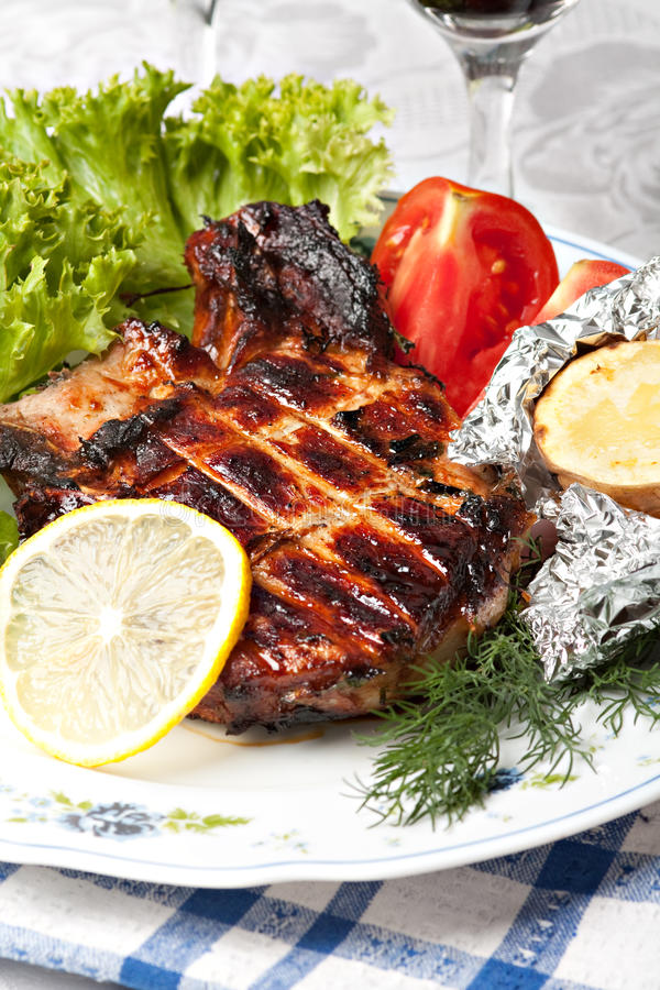 Grilled pork meat stock images