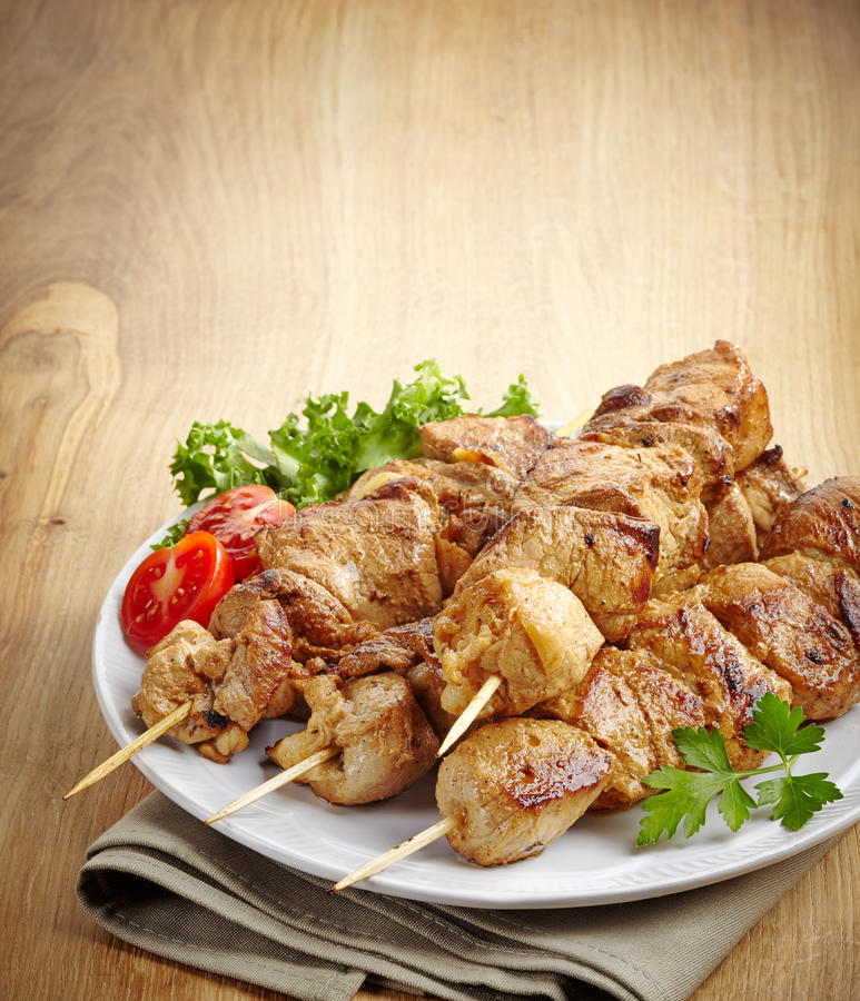 Grilled pork meat kebab royalty free stock photo