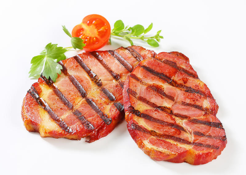 Grilled pork neck steaks stock photo. Image of smoked ...