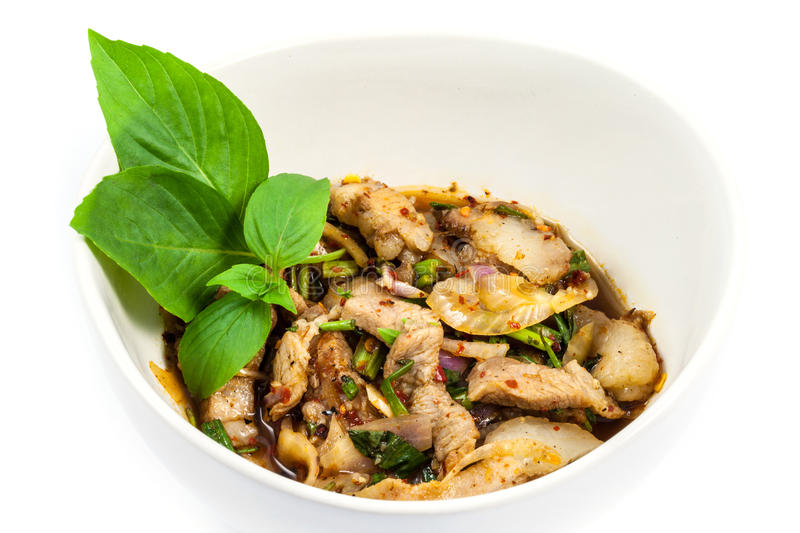 Grilled Pork in North Eastern Thai Style Spicy Salad royalty free stock photography