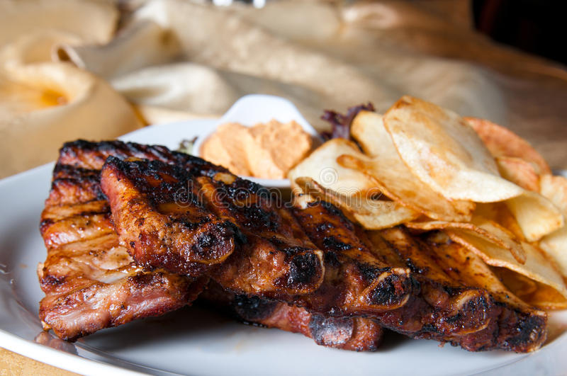 Grilled pork ribs stock image