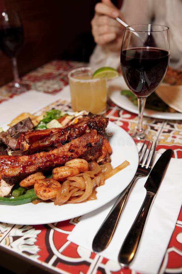 Download Grilled Pork Ribs, Beef And Shrimps Stock Photo - Image: 18290918