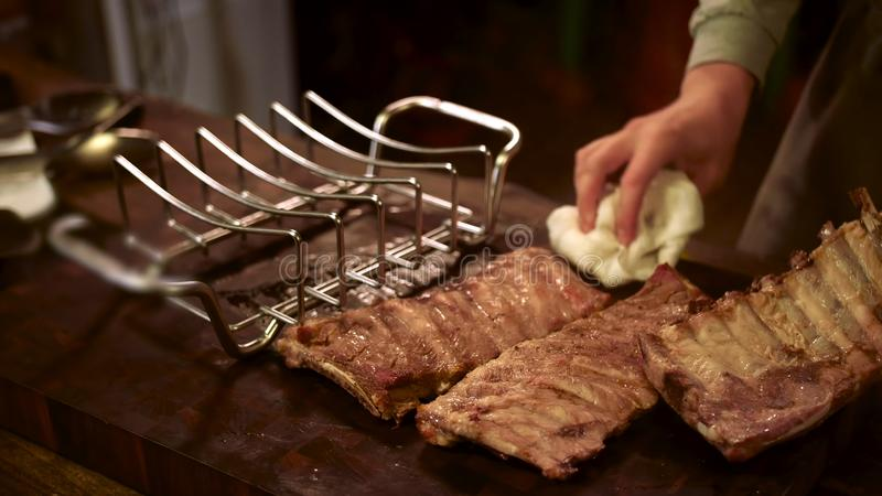 Grilled pork ribs. Meat, juicy. stock photos