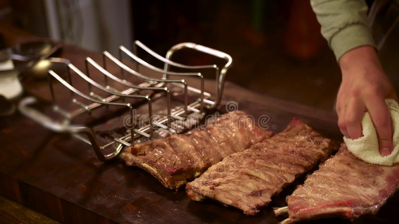 Grilled pork ribs. Meat, juicy. stock image