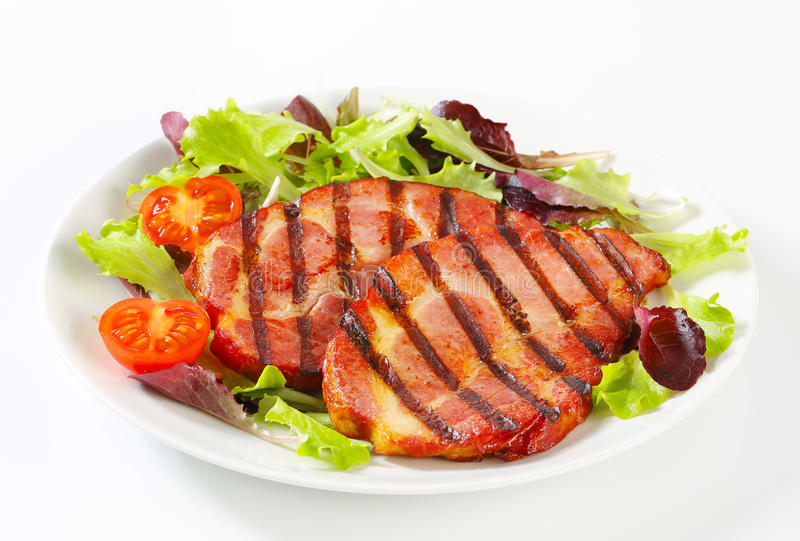 Download Grilled Pork With Salad Greens Stock Image - Image of smoked, closeup: 55975843