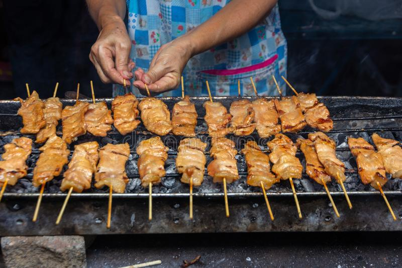 Grilled pork skewer sticks on the bbq grill royalty free stock photos