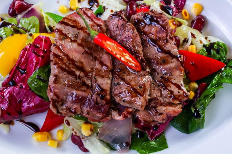 Grilled pork with vegetables royalty free stock image