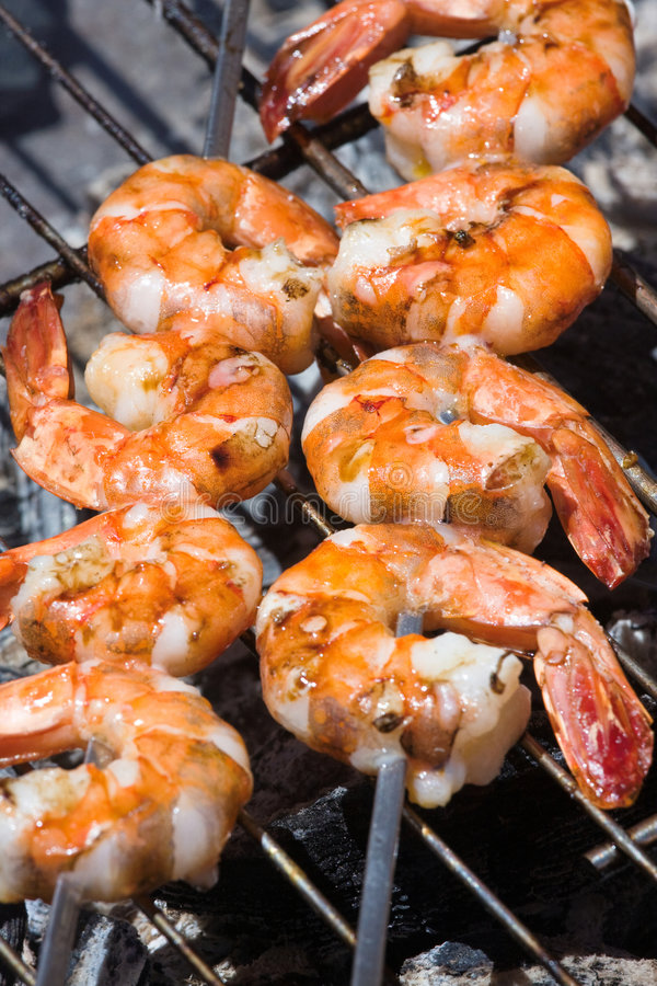 Grilled prawns stock image