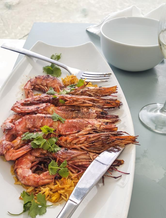 Prawns in a white plate royalty free stock images
