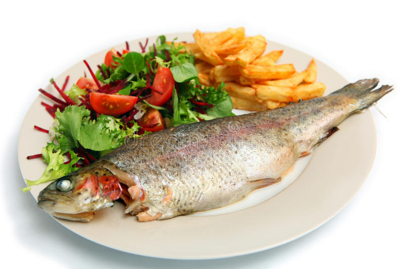 Grilled rainbow trout meal royalty free stock photography