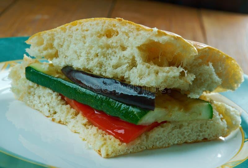 Grilled Ratatouille Muffuletta Sandwich. Popular sandwich,New Orleans, Louisiana royalty free stock images