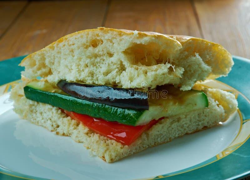Grilled Ratatouille Muffuletta Sandwich. Popular sandwich,New Orleans, Louisiana royalty free stock image