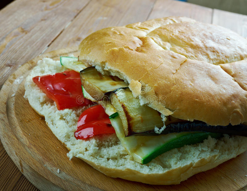 Grilled Ratatouille Muffuletta Sandwich. Popular sandwich,New Orleans, Louisiana royalty free stock photos