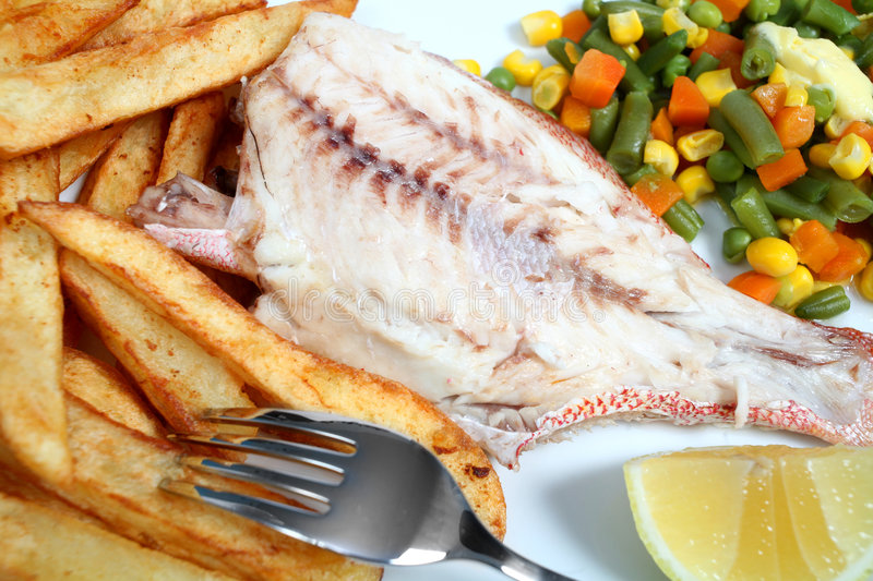Download Grilled Red Snapper Fries And Veg Stock Photo - Image: 7649512