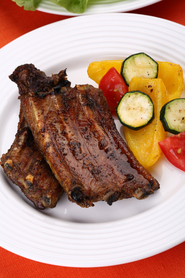 Grilled ribs stock photos
