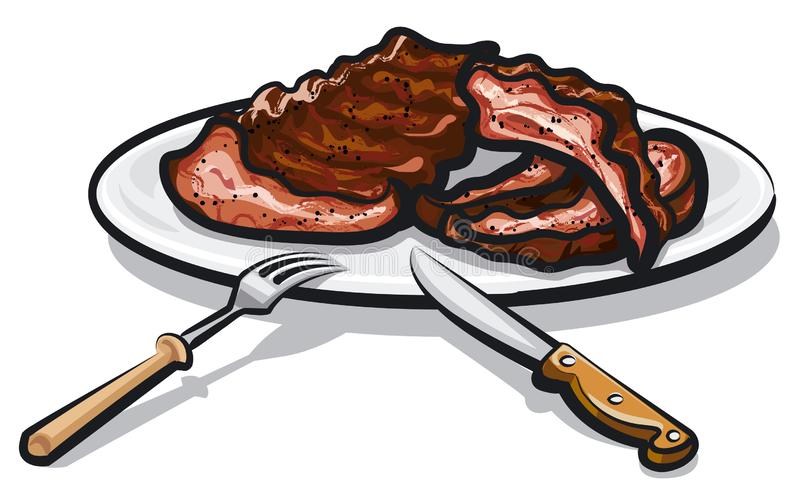 Grilled roasted ribs. On the plate royalty free illustration