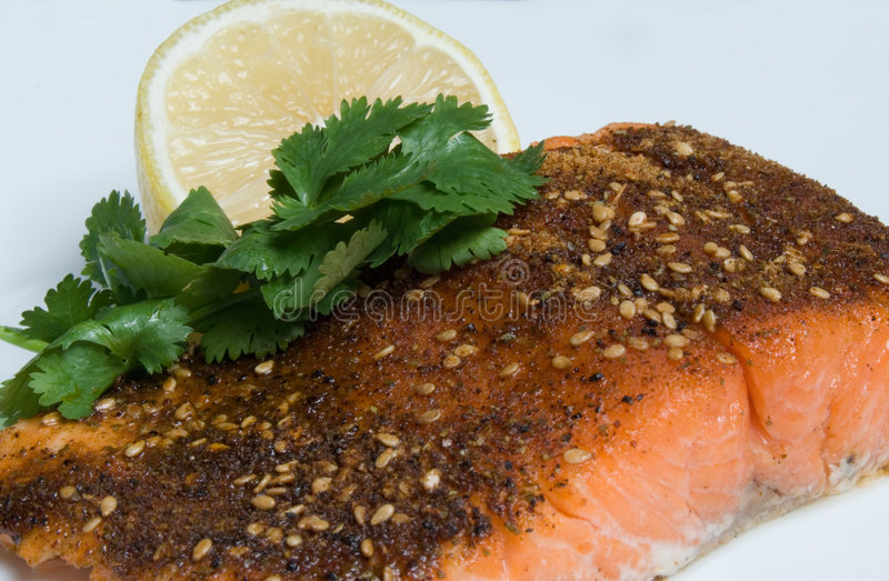 Grilled Salmon cajun spiced fillet with lemon and cilantro. Cajun spiced grilled Salmon fillet steak with lemon and cilantro on a white plate royalty free stock photos