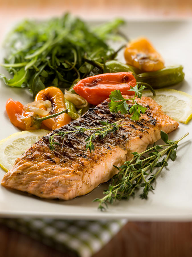 Download Grilled Salmon With Capsicum Stock Photo - Image of capsicum, lunch: 29855066