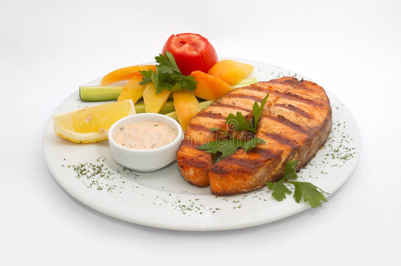 Grilled salmon fillet royalty free stock photography